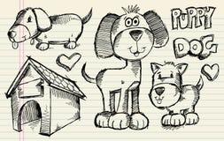 De reeks van de Hond van het Puppy van de Schets van de krabbel Stock Afbeeldingen