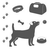 De reeks van de hondzorg pictogrammen Stock Foto's
