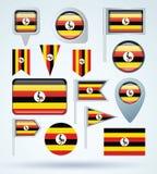 De reeks van de inzamelingsvlag van Oeganda, vectorillustratie Royalty-vrije Stock Afbeelding