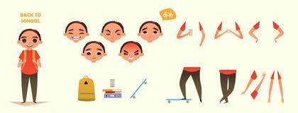De reeks van de karakterverwezenlijking Verschillende emoties en gebaren De illustratie van de beeldverhaal vlak-stijl Bouw uw ei Stock Afbeelding