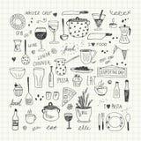 De reeks van de keukengereedschapkrabbel Hand getrokken vectorillustratie Royalty-vrije Stock Foto's