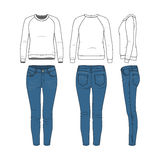 De reeks van de kleding Raglan sweatshirt, jeans vector illustratie