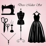 De reeks van de kledingsmaker stock illustratie