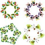 De reeks van de klemkunst bloemenkaders, hand getrokken bloemkroon Stock Foto's