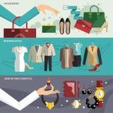 De Reeks van de klerenbanner stock illustratie