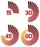 De pictogrammen van de klok Stock Afbeeldingen