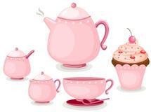 De reeks van de koffie of theestel en kopcake Royalty-vrije Stock Foto's