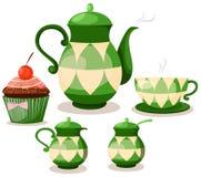 De reeks van de koffie of theestel en kopcake Stock Afbeelding