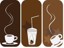 De reeks van de koffie van 3 Stock Foto