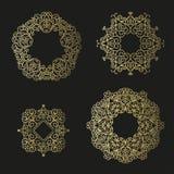 De reeks van de lijnkunst Decoratieve kaders voor uw ontwerp Stock Fotografie