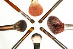 De reeks van de make-upborstel Stock Foto