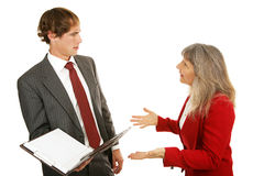 De Reeks van de mentor - Confrontatie met Werkgever Stock Foto's