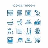 De reeks van de pictogrammenbadkamers Stock Foto's