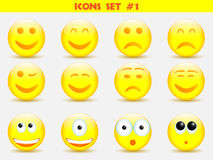 De reeks van de pictogrammenglimlach Stock Fotografie
