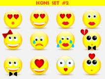 De reeks van de pictogrammenglimlach Stock Foto's