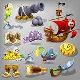 De Reeks van de piraat Vector illustratie Royalty-vrije Stock Afbeeldingen