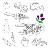 De Reeks van de pizza Stock Afbeelding