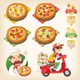 De reeks van de pizza Stock Fotografie
