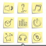 De reeks van de post-it - muziek Royalty-vrije Stock Afbeelding