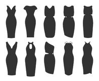 De reeks van de potloodkleding de vrouwen kleden inzamelingspictogram stock illustratie
