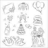 De Reeks van de Schets van het huwelijk Stock Illustratie