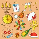 De Reeks van de Schets van het nieuwjaar Stock Illustratie