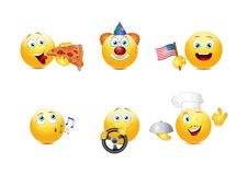 De reeks van de Smileyemotie Royalty-vrije Stock Afbeeldingen
