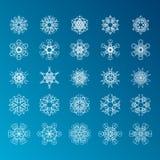 De reeks van de sneeuwvlok Het concept van Kerstmis en van het Nieuwjaar Royalty-vrije Stock Afbeeldingen