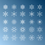 De reeks van de sneeuwvlok Het concept van Kerstmis en van het Nieuwjaar Stock Afbeelding