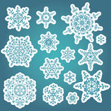 De reeks van de sneeuwvlokkenwinter Vectorkrabbelsstickers Royalty-vrije Stock Foto's