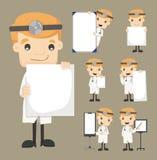 De reeks van de spatie van de artsenholding neemt van nota de karakters stelt royalty-vrije illustratie