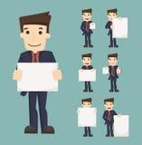 De reeks van de spatie van de zakenmanholding neemt van nota de karakters stelt vector illustratie