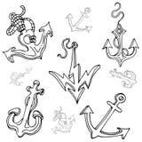 De Reeks van de Tekening van het Anker van de boot Royalty-vrije Stock Afbeelding
