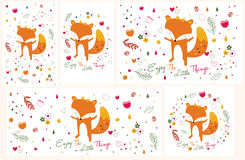 De reeks van de vosillustratie (horizontaal en verticaal in grootte) Stock Foto's