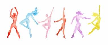 De reeks van de waterverfdans Royalty-vrije Stock Afbeeldingen