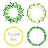 De reeks van de waterverfkroon Bloemen ronde kaderinzameling in groene en gele kleur Hand geschilderde huwelijk of groetkaart, ve Stock Fotografie