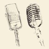 De reeks van de Wijnoogst van studiomicrofoons graveerde Retro Royalty-vrije Stock Foto