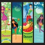 De reeks van de zomerbanners vector illustratie