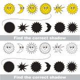 De reeks van de zon Vind correcte schaduw Royalty-vrije Stock Afbeelding