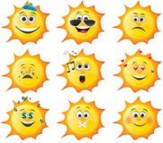 De reeks van de zonsmiley van het beeldverhaal stock illustratie