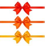 De reeks van decoratieve de herfstboog met horizontaal lint voor paginadecoratie of de gift pakt in Stock Foto's
