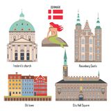 De reeks van Denemarken oriëntatiepuntpictogrammen vector illustratie