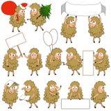 De reeks van divers beeldverhaal sheeps in divers stelt Royalty-vrije Stock Afbeelding
