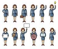 De reeks van divers stelt infographic elementen van de bedrijfsvrouwen de vlakke stijl Vector characters royalty-vrije illustratie