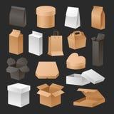 De reeks van dozen 3d pakketten realistisch kleinhandels verschepend van de de softwarecontainer van het reclame compact en leeg  Stock Foto