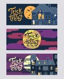 De reeks van drie bedriegt of behandelt horizontale het Webbanners van Halloween Royalty-vrije Stock Foto's