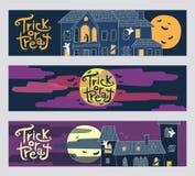 De reeks van drie bedriegt of behandelt horizontale het Webbanners van Halloween Royalty-vrije Stock Afbeelding