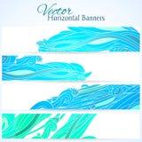 De reeks van drie banners met water overhandigt getrokken golven Royalty-vrije Stock Foto's