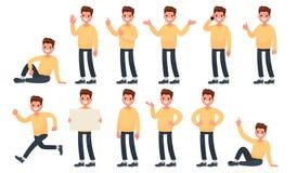 De reeks van een kerel in vrijetijdskleding in verschillend stelt Een karakter F royalty-vrije illustratie