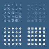 De reeks van eenvoudig, overzicht, naadloze, gevulde witte pijlen voor mobiel gebruikersinterface en Web ontwerpt op blauwe achte stock illustratie